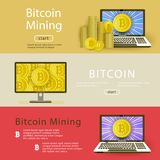 Vector flat bitcoin mining posters set. Vector bitcoin mining posters template background set. Illustration on colored background with golden coin in laptop and Stock Photography