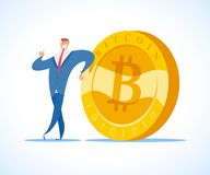 Vector bitcoin and successful businessman flat illustration isolated on white background. Cryptocurrency golden symbol. Digital money emblem, golden coin with Royalty Free Stock Image