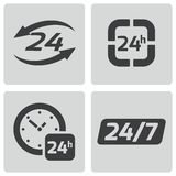 Vector black 24 hours icons set. On white background Stock Image