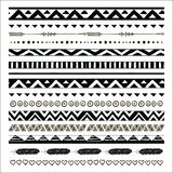 Vector black abstract tribal seamless pattern borders royalty free illustration
