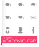 Vector black academic cap icon set. On grey background Royalty Free Stock Photo