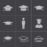Vector black academic cap icons set Stock Photo