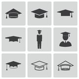 Vector black academic cap icons set royalty free illustration