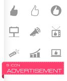 Vector black advertisement icon set. On grey background Royalty Free Stock Photography