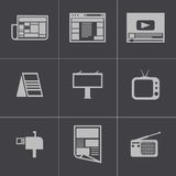 Vector black advertisement icons set Royalty Free Stock Images