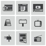 Vector black advertisement icons set Stock Image