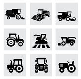 Vector black agricultural transport icons set Royalty Free Stock Images