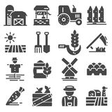 Agriculture and Farming icons set. Vector black Agriculture and Farming icons set Stock Photography