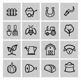 Vector black agriculture and farming icons set. This is file of EPS10 format Royalty Free Stock Photography