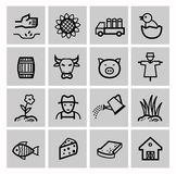 Vector black agriculture and farming icons set Royalty Free Stock Photo