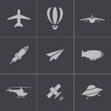 Vector black airplane icons set Stock Images