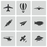 Vector black airplane icons set Royalty Free Stock Image