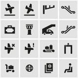 Vector black airport icon set Royalty Free Stock Photos