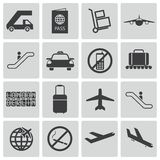 Vector black airport icons Royalty Free Stock Photography