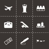 Vector black airport icons set. On black background Royalty Free Stock Photography