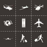 Vector black airport icons set Stock Images