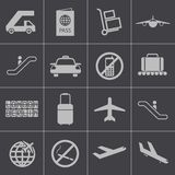 Vector black airport icons set Royalty Free Stock Photo