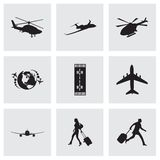 Vector black airport icons set Stock Photography