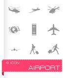 Vector black airport icons set Stock Image