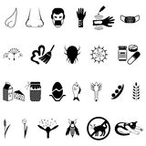Vector black allergies icons set Stock Photos