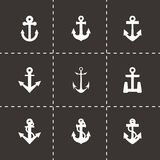 Vector black anchor icon set Stock Photography