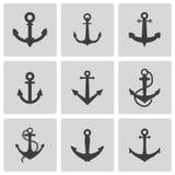 Vector Black Anchor Icons Set Stock Photos