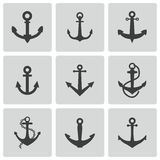 Vector black anchor icons set Stock Photos