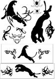 Vector black animal tatoos Stock Photos