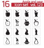 Vector black apple and pear icons Royalty Free Stock Photos