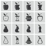 Vector black apple and pear icons Royalty Free Stock Image