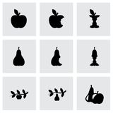 Vector black apple and pear icons set Stock Images