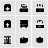 Vector black archive icon set Royalty Free Stock Images