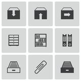 Vector black archive icons set Stock Image