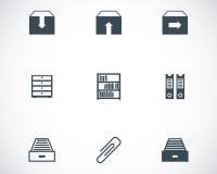 Vector black archive icons set Stock Photos