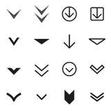Vector black Arrow buttons down icon set Stock Photography