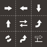 Vector black arrows icons set. On black background Stock Image