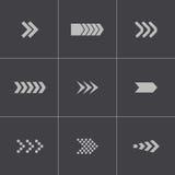 Vector black arrows icons set Stock Photos