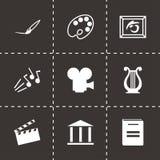 Vector black art icons set. On black background Stock Images