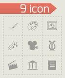 Vector black art icons set. On grey background Stock Photos