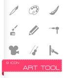 Vector black art tool icon set Stock Photos
