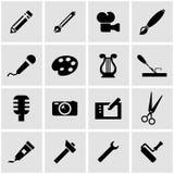 Vector black art tool icon set Royalty Free Stock Photo