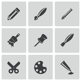 Vector black art tool icons set. On white background Stock Image