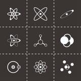 Vector black atom icon set. On black background Royalty Free Stock Photos