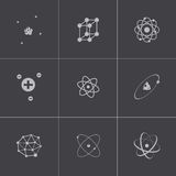 Vector black atom icons set Royalty Free Stock Images