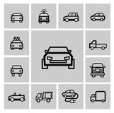 Vector black auto icon set Stock Photography