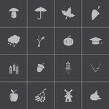 Vector black autumn icons set Royalty Free Stock Photo
