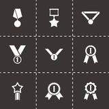Vector black award medal icon set Royalty Free Stock Images