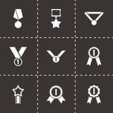 Vector black award medal icon set. On black background Royalty Free Stock Images