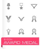 Vector black award medal icon set Royalty Free Stock Photos