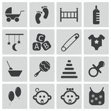 Vector black baby icons. Set Stock Image